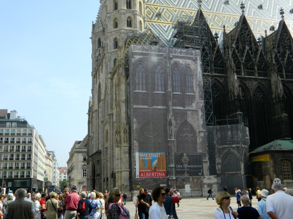 St. Stephen's Cathedral-Note Cloth Covering Scaffolding Looks Like Cathedral
