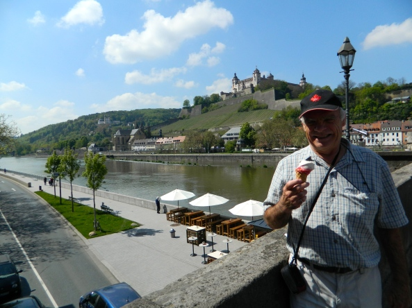 Don enjoys His Two Scooper on The Bridge At Wurzburg