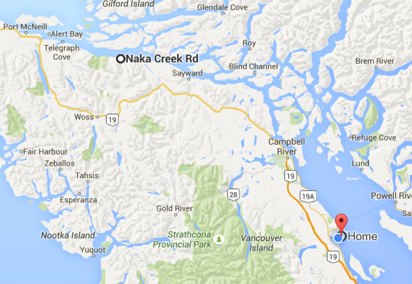 Location of Naka Creek In Relation To Home. (400+Km round trip approx)