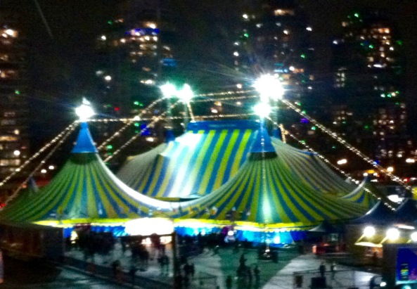 The Kooza big top from the Georgia St. viaduct.