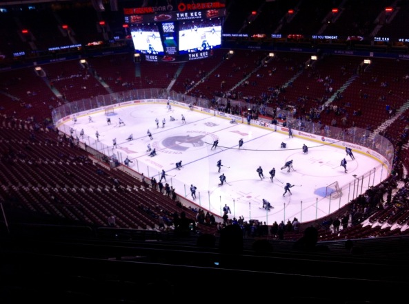 Canucks And Sharks Warm Up At Rogers Arena